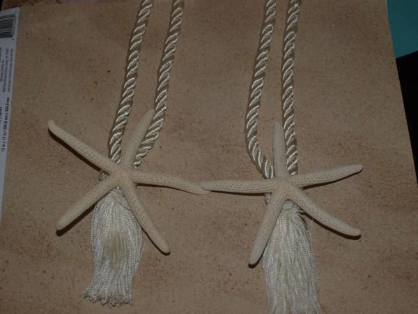 Coastal White Starfish Curtain Tie Backs 2