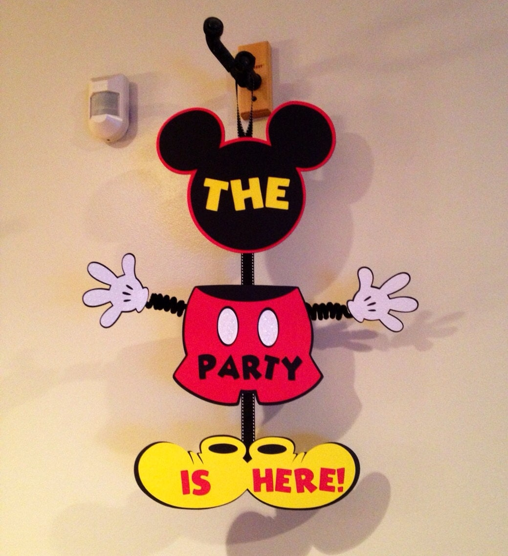 Mickey Mouse Door Sign Birthday Wiggle Arm Come Inside