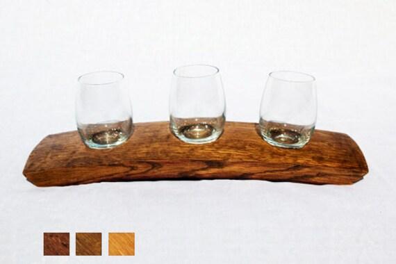 The Original Wine Barrel Stave Wine Flight/ 3 Glass Holder/