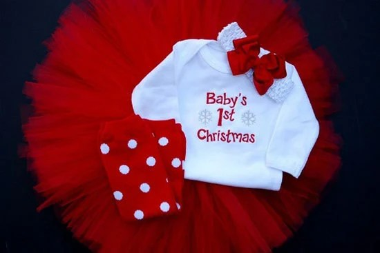 Babys First Christmas Tutu Set With Headband By