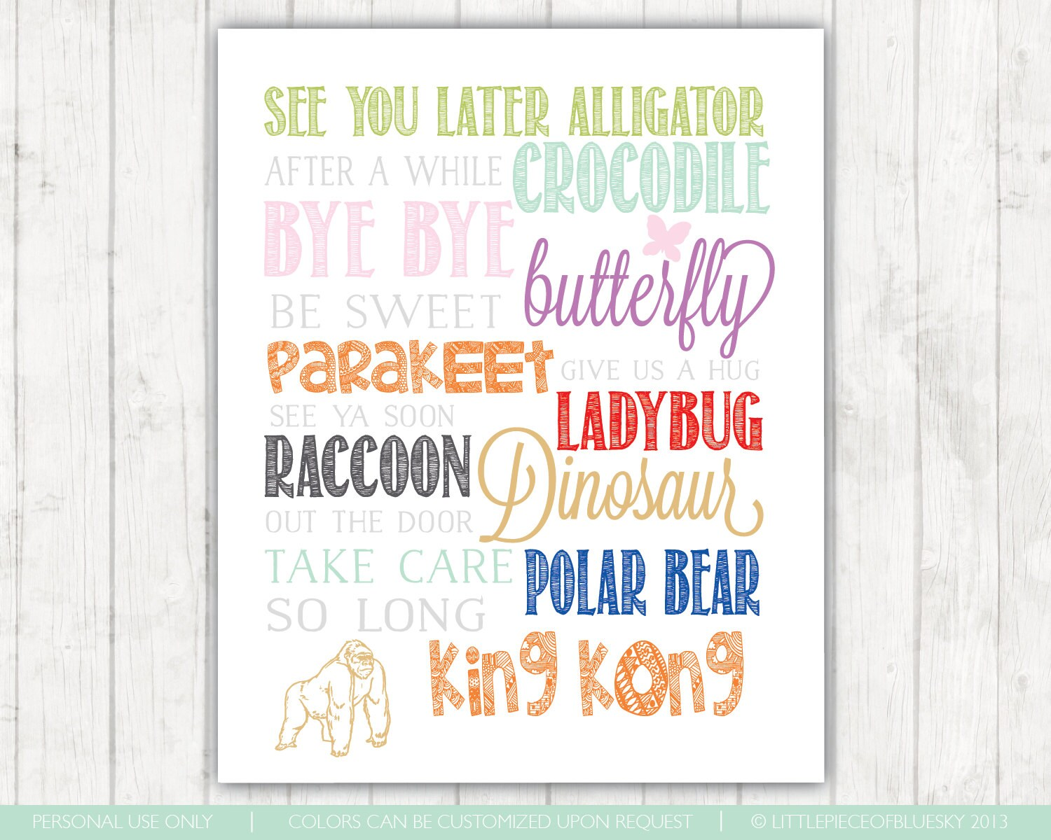 See You Later Alligator Short Saying Print For Nursery Or