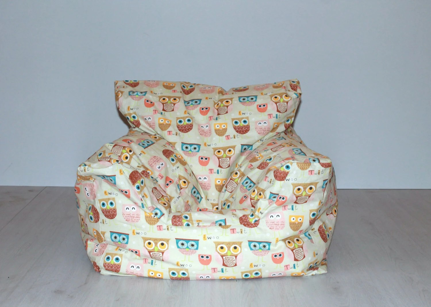owl chair for kids cooler backpack print beanbag children aged 5 beautiful