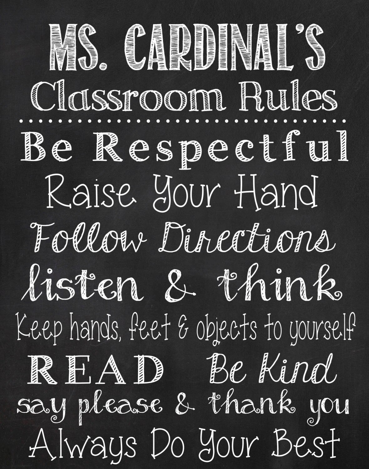 Classroom Rules Chalkboard Printable Sign
