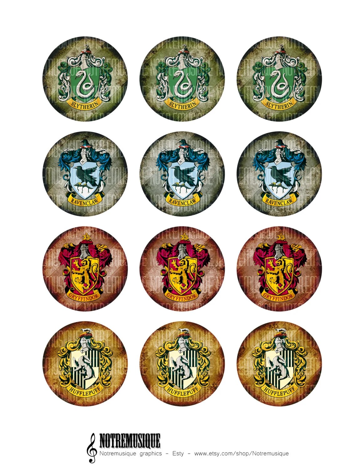 Harry Potter Digital Collage Sheet 1 1 25 1 5 And 2 Inch Craft Supplies Printable Bottlecap