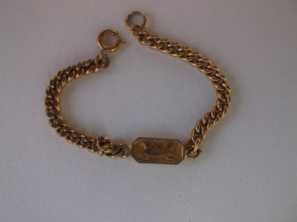 Vintage 1950' Crown Trifari Zodiac Bracelet Gold Plate