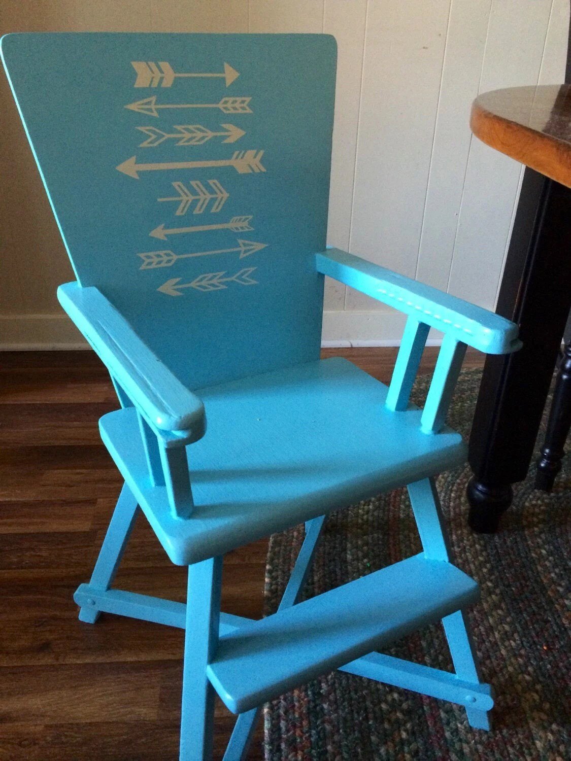 Aqua Dining Chairs Vintage Wooden Highchair Booster Seat Aqua Dining