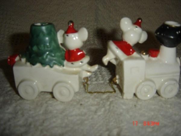 Vtg Lefton 1959 Lego Christmas Mouse Noel Train Candle Holder