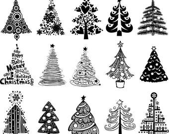 Christmas Tree Digital Clipart Xmas Tree Clip Art Printable