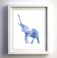 Geometric Elephant printable instant download wall art DIY