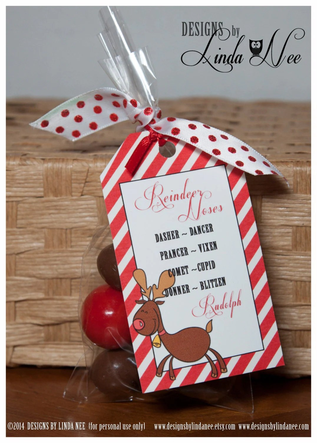 Reindeer Noses Printable Bag Toppers Rudolph Treat Bag
