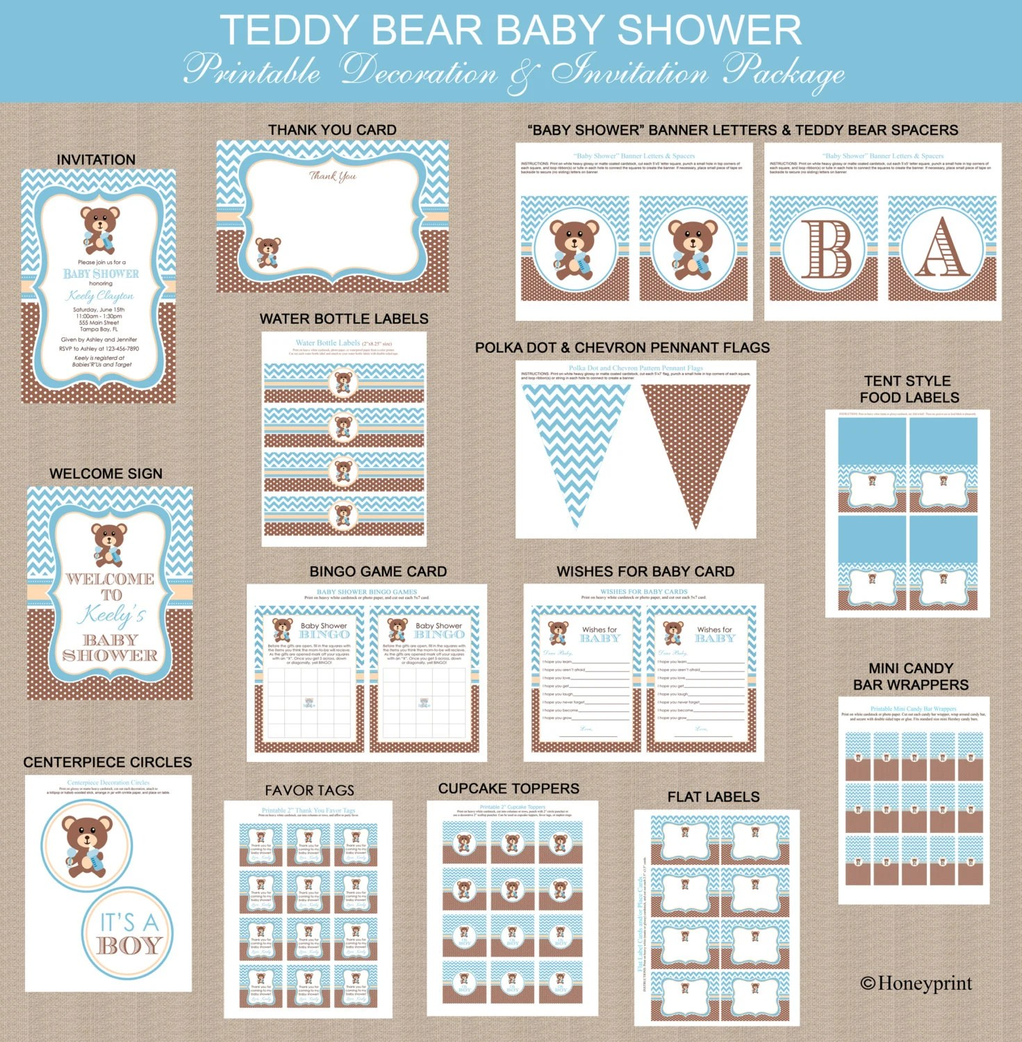 Teddy Bear Baby Shower Printables Package Printable Teddy