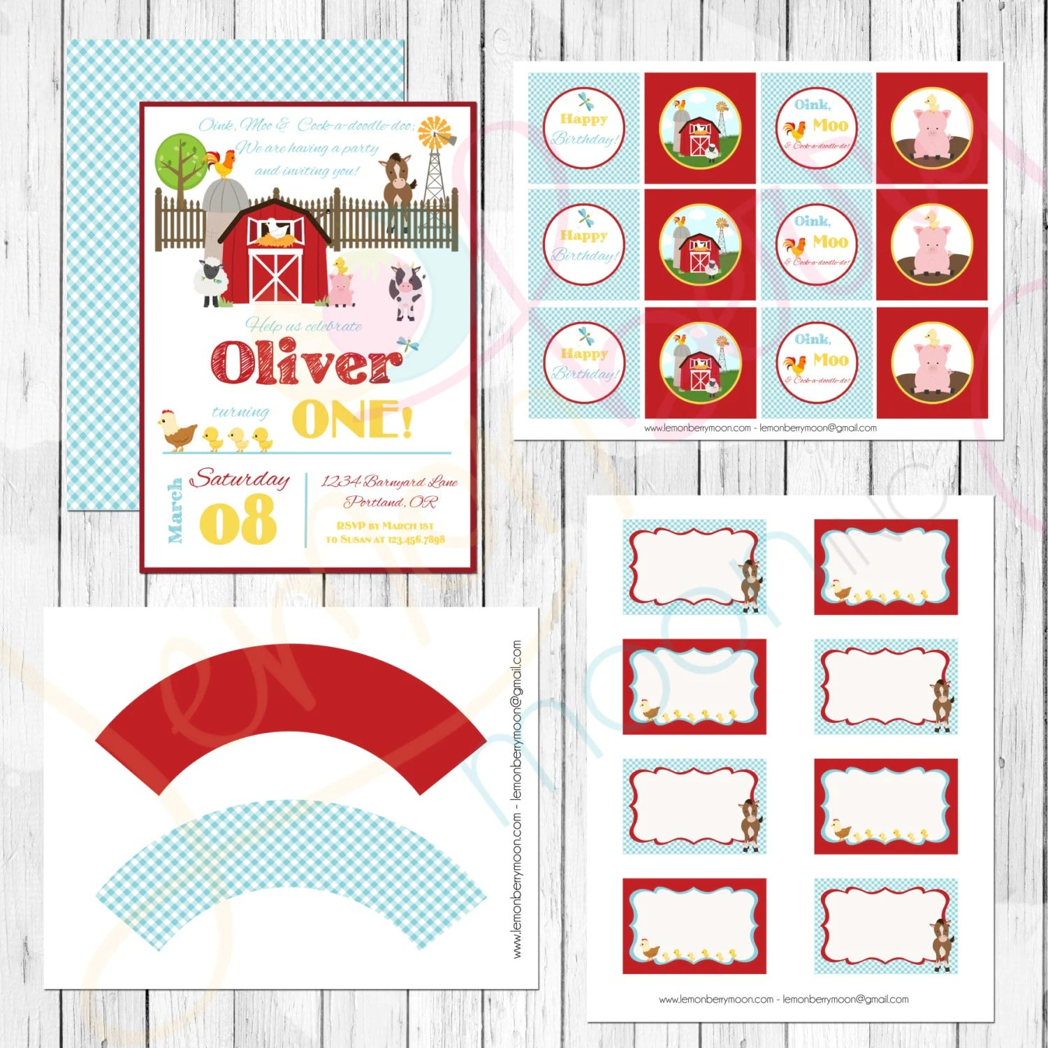 Farm Themed Birthday Party Printables Set By Lemonberrymoon