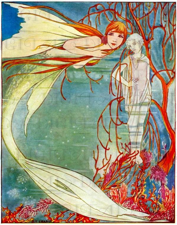 Astonishing Little Mermaid Vintage Fairy Tale Illustration