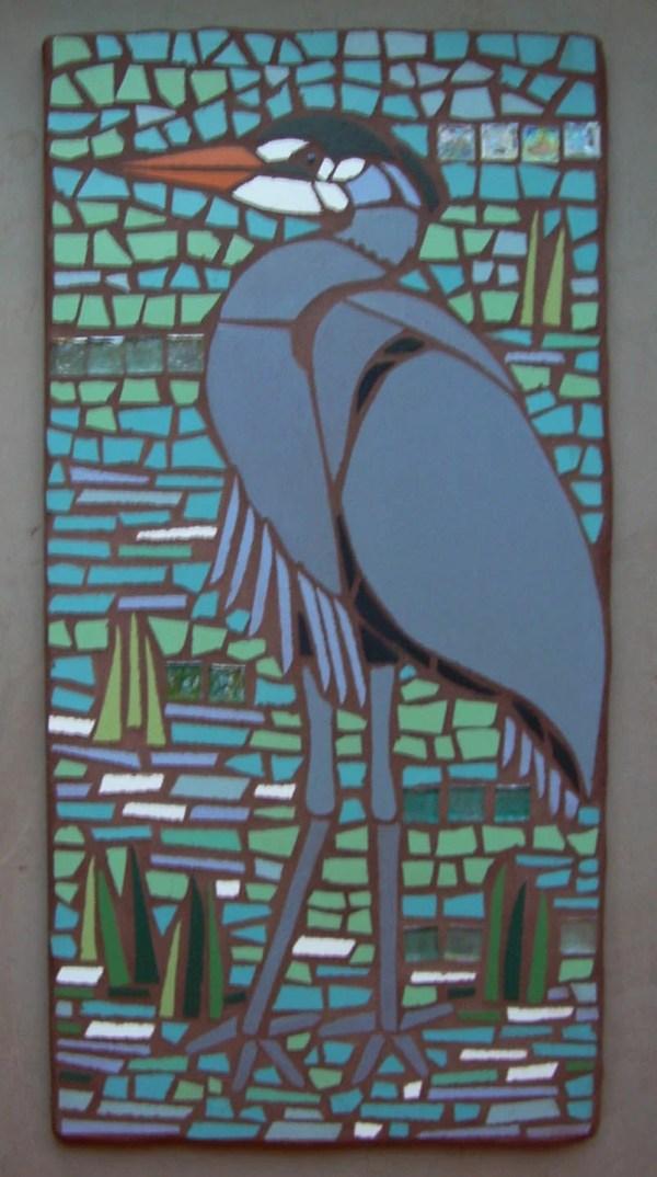 Blue Heron Mosaic Garden Art 1' Wide X 2' Tall