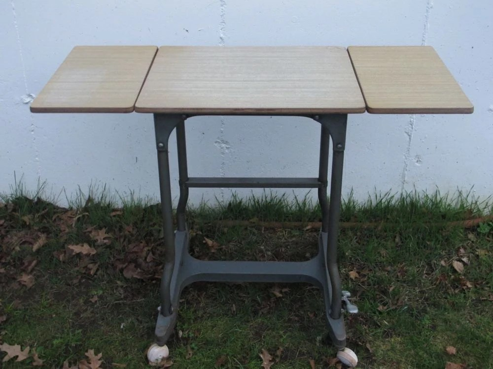Industrial Metal Table Mid Century Table Typewriter