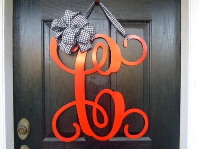 Initial monogram front door wreath  metal by housesensations
