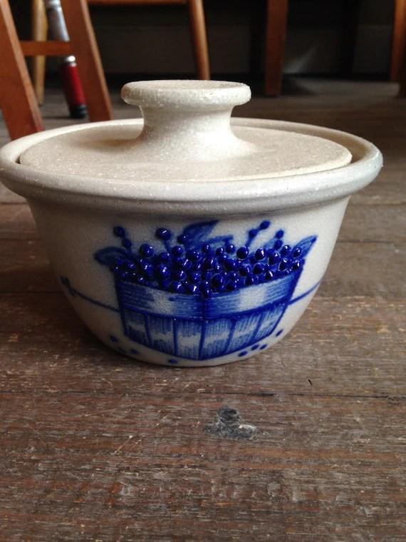kitchen crock degreaser for wood cabinets vintage salmon falls stoneware pottery blue salt glaze