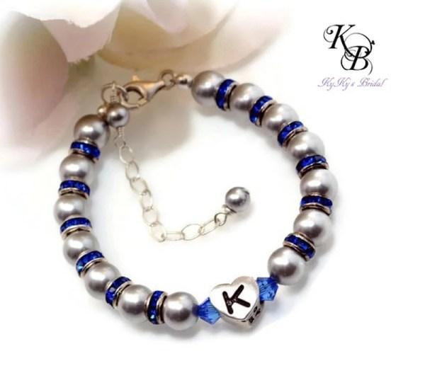 Personalized Baby Bracelet Birthstone Baby Bracelet Heart