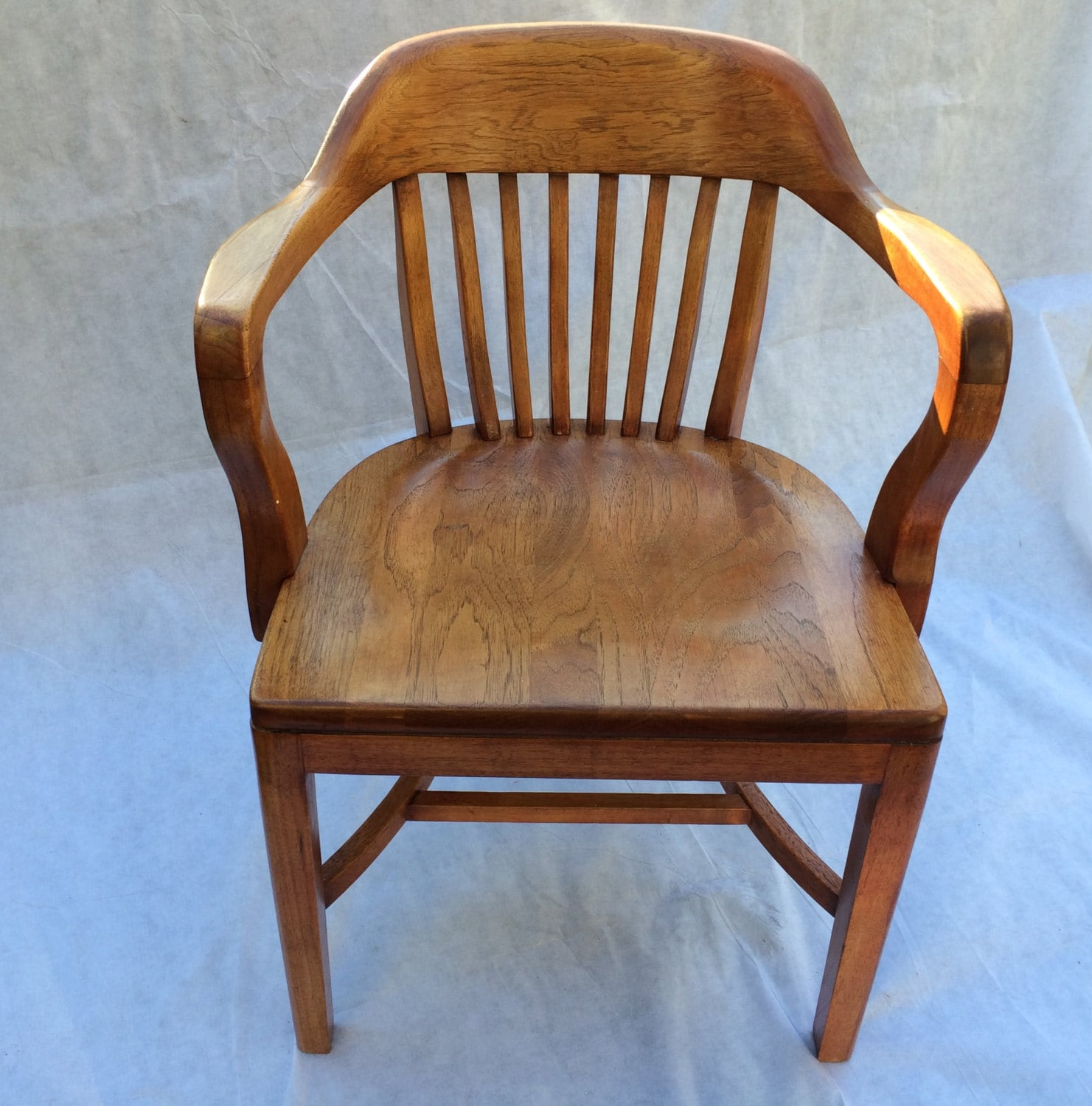 Wooden Bankers Chair Vintage Bankers Chair Library Chair Boling Chair North Carolina