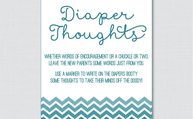Teal Baby Shower Diaper Thoughts Game Printable Download