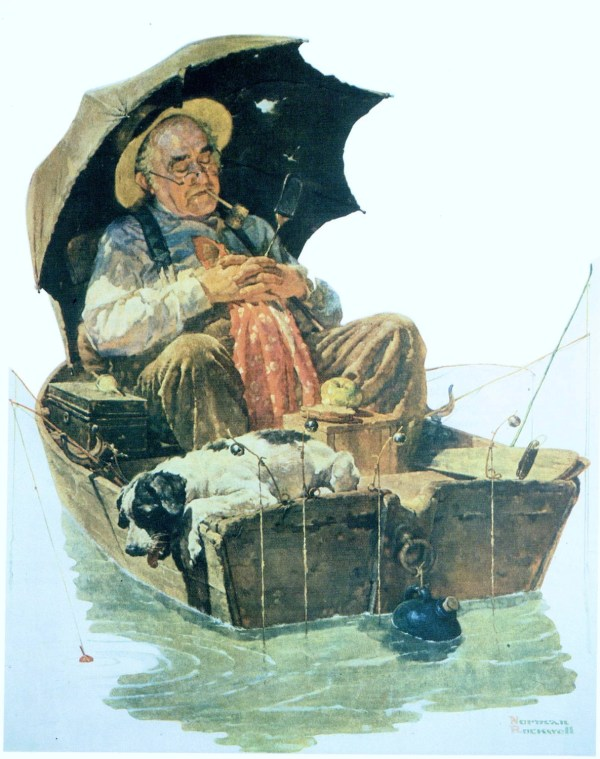 Norman Rockwell Old Man Fishing