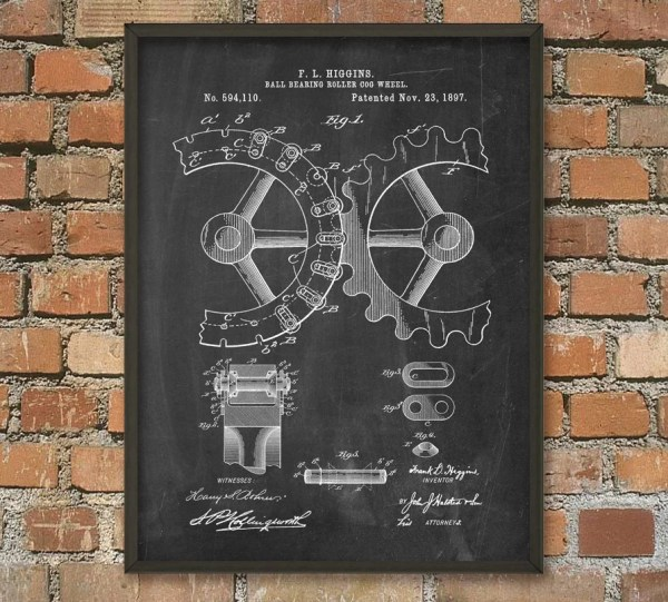 Cogs And Gears Patent Wall Art Poster Steampunk Print Gear