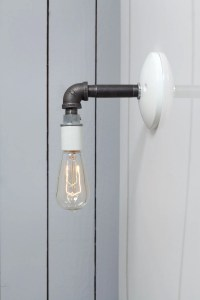 Industrial Wall Sconce Black Pipe Light Bare Bulb Lamp