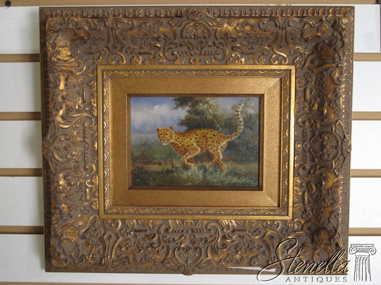 V35117E: Antique Gold Framed Oil Painting On Board-Running