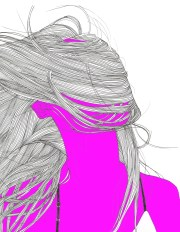 hair blowing in wind line drawing