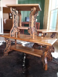 Western Style Coffee and End Tables Carved Wood by ...