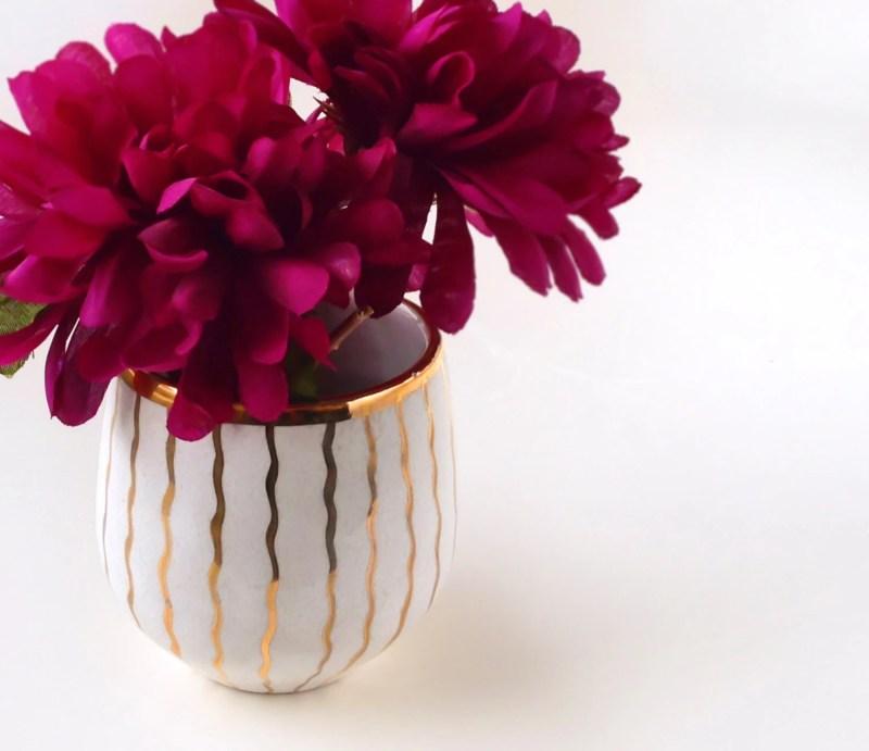 Mini White & Gold Bud Vase or Catchall - Hostess Gift, Wedding Decor, Modern Tableware, Modern Pottery
