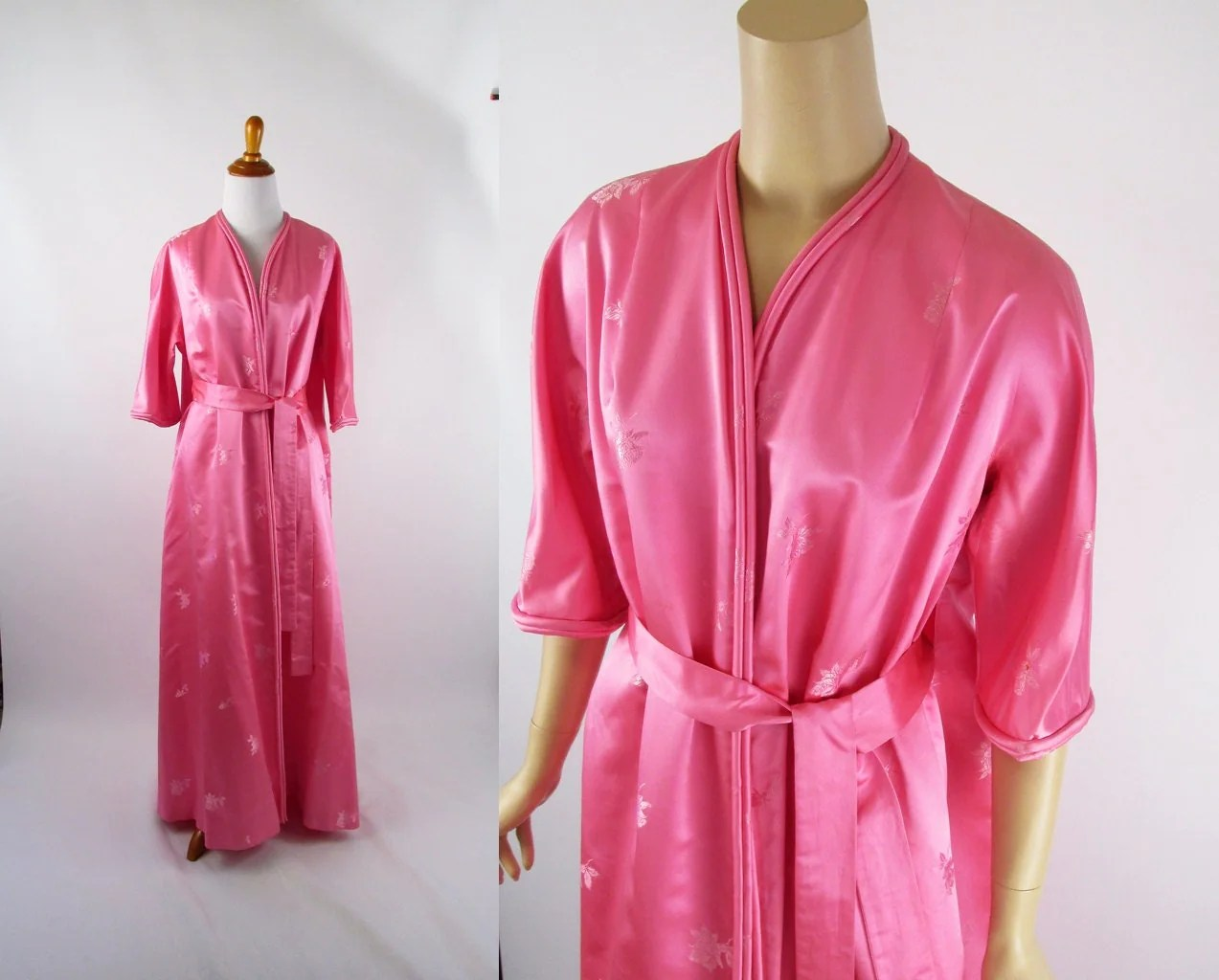 Vintage Dressing Gown Robe Pink Silk And Rayon Odette Barsa Sz