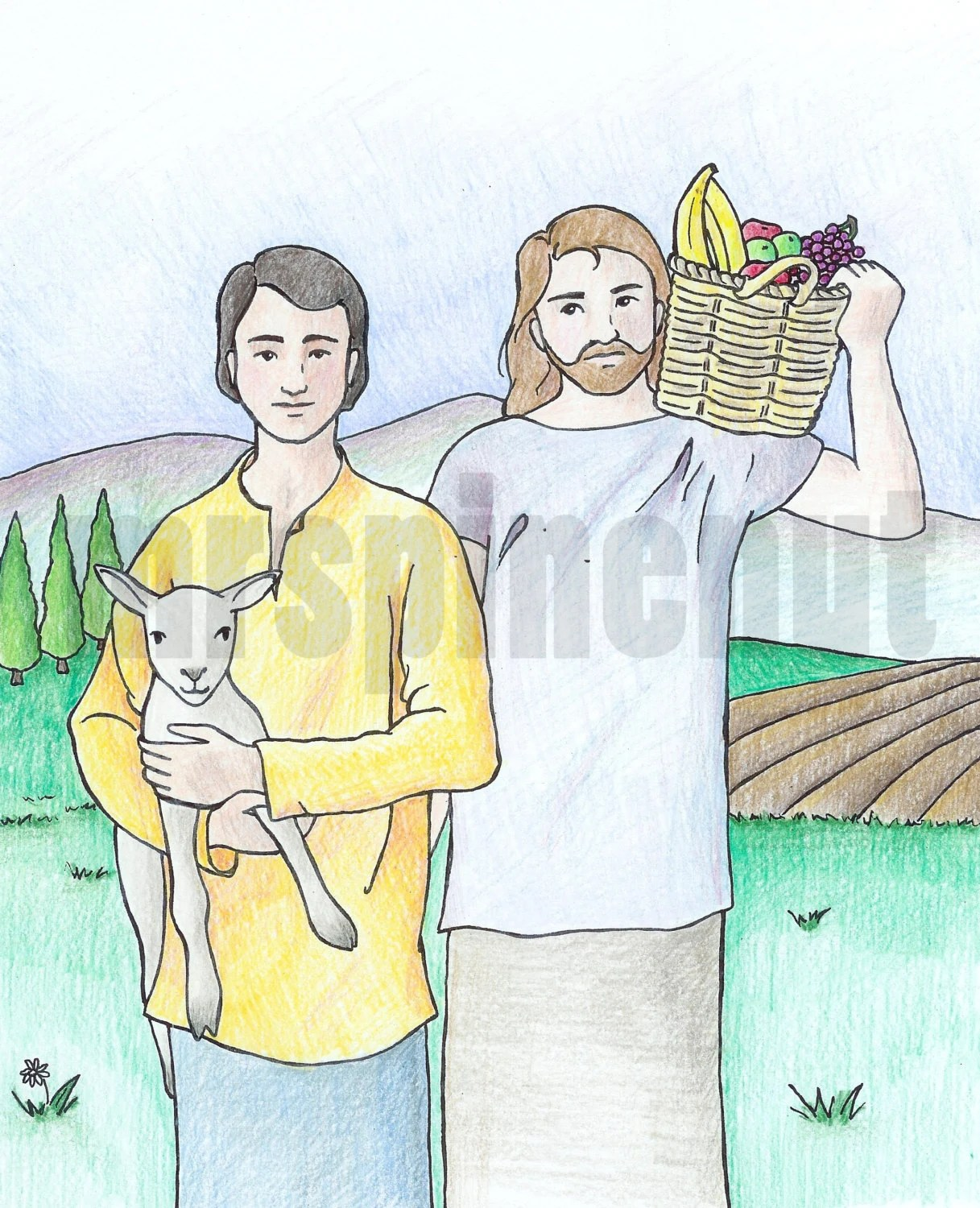 Cain And Abel Bible Colouring Page