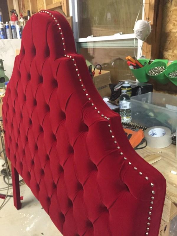 Queen Size Headboard Red Velvet Tufted