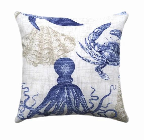 Navy Outdoor Pillow Richloom Sea Life Marine Navy Blue