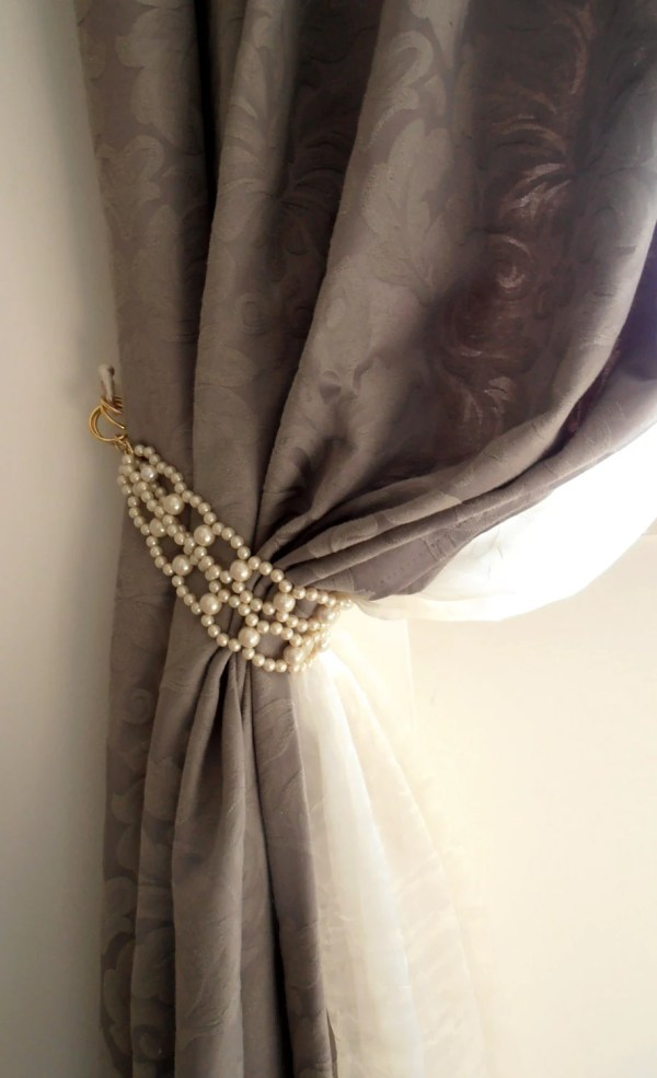 Set Of 2 Decorative Tie Backs With Faux Pearls Curtain