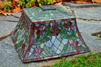 14 Square Floral Stained Glass Lamp Shade