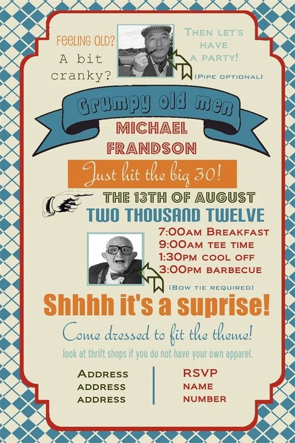 Grumpy Old Men Birthday Party Invitation You Print