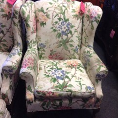 Floral Upholstered Chair Target Purple Wing Back San By Thriftcityfurniture