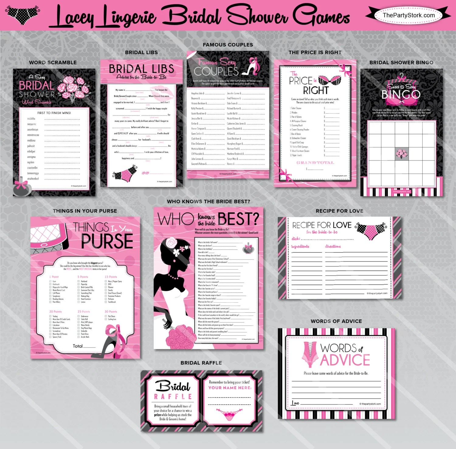 Lingerie Bridal Shower Games Printable Wedding by ThePartyStork