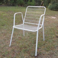 Retro Metal Patio Chairs Garden Wicker Chair Covers White Mid Century