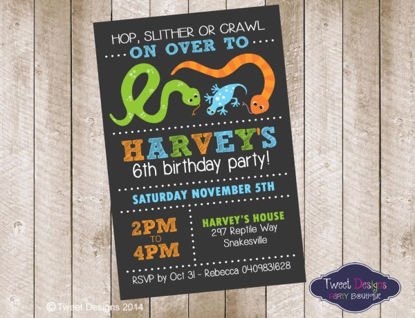 Reptile Birthday Invitation Printable Tweetpartyboutique