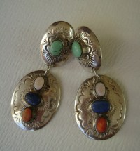 vintage sterling multi-stone concho earrings