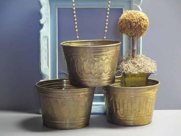 3 Hammered Brass Planters Flower Pots Planter Desk
