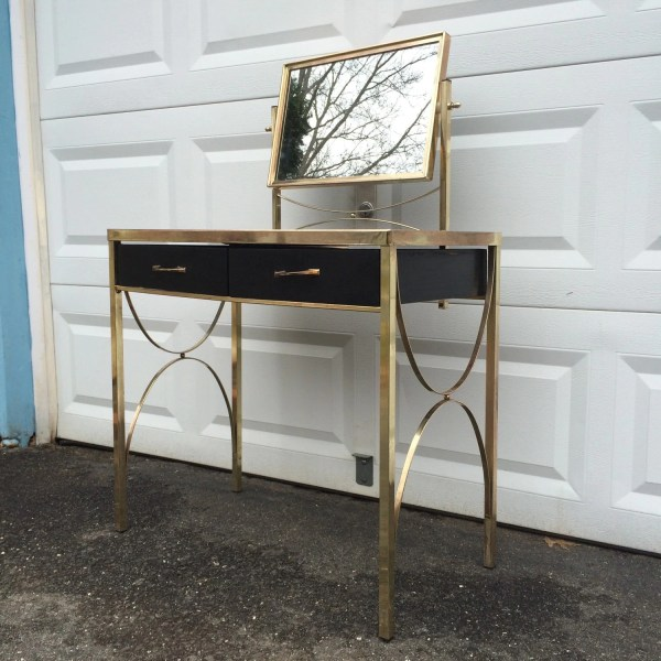 Hold Eve Mid-century Modern Vanity Glass & Brass Makeup
