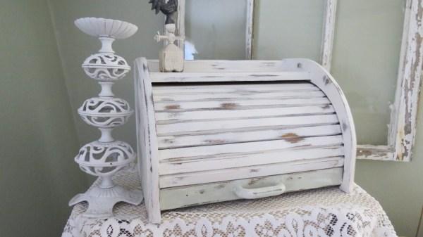 Hold Vintage Shabby Chic Bread Box Wood White Kitchen