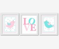 PINK Baby Girl Wall Art Aqua Teal Pink by DezignerheartDesigns