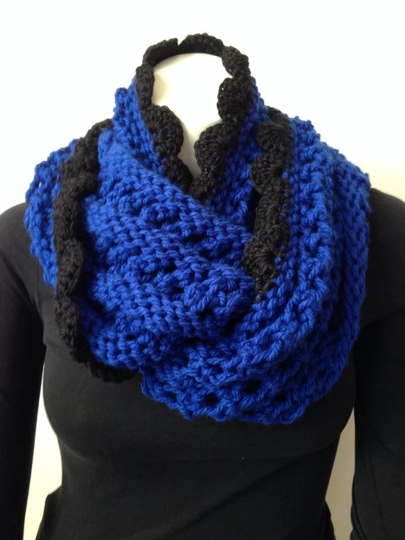 Chunky Knit Scarf Royal Blue Scarf with Black Crochet by