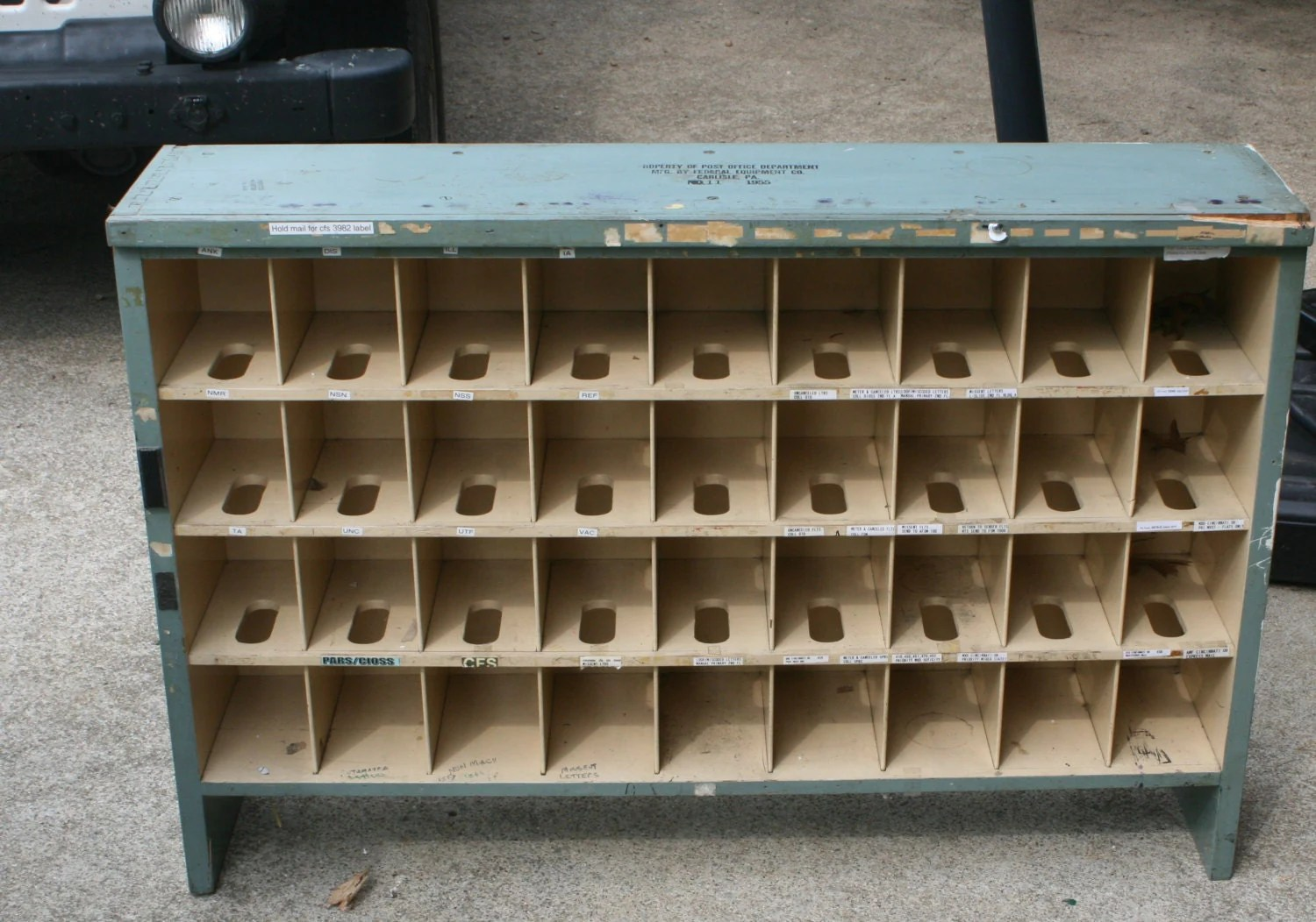 Vintage Post Office Desk Cubby Holes Storage Industrial