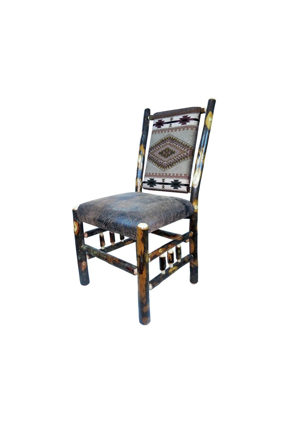 Rustic Hickory Upholstered Dining Chair With Spindle Side